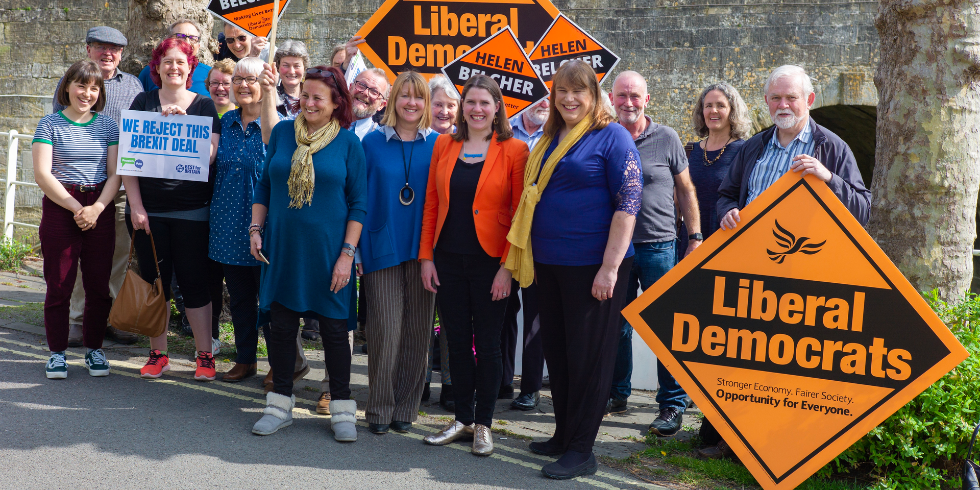 Jo Swinson and Helen Belcher in Bradford on Avon